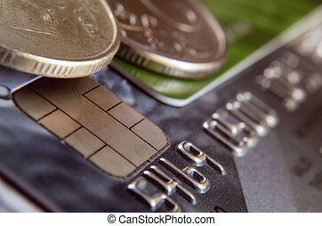 Close up of number of a bank card, chip and fragment of a...