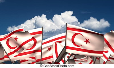 Waving Northern Cyprus Flags (seamless & alpha channel)
