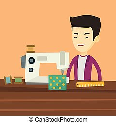 Seamstress using sewing machine at workshop. - Asian male...
