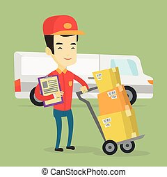 Delivery courier with cardboard boxes. - Asian delivery...