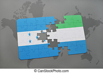 puzzle with the national flag of honduras and sierra leone...
