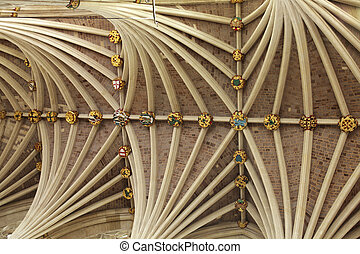 Vaulted ceiling of Exeter cathedral in Devon