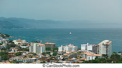 Aerial panorama of puerta vallarta resort in mexico in sunny...