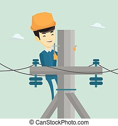 Electrician working on electric power pole. - Asian...