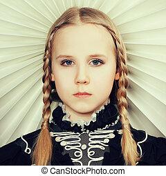 Fair hair girl with fashion hairstyle