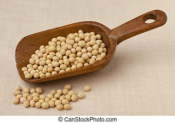 rustic scoop of soybeans - yellow soybeans on a rustic...