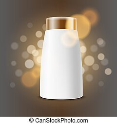 Cosmetic product advertising vector template. Cream bottle...