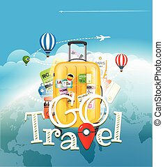 Go travel concept. Travel bag and different touristic...