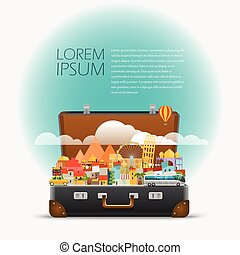 Dirrefent world famous sights. Vector travel illustration....