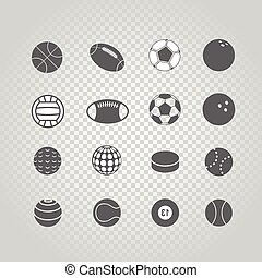 Sport ball silhouettes collection set isolated on transparent