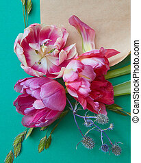 Composition of flowers on turquois background - Composition...