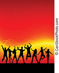 Party people - Silhouettes of people dancing on an abstract...