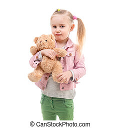 Girl with toy, isolated on white background