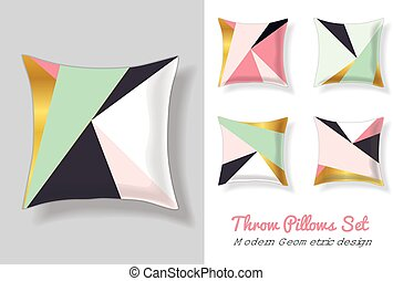 Set Of Pink and Mint Green Throw Pillows In Matching Unique...