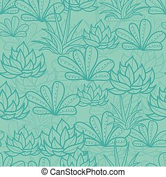 Vector Blue Seamless Repeat Pattern With Growing Succulents...