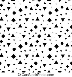 Vector Black and White Vintage Geometric Shapes Seamless Repeat Pattern Background. Perfect For Fabric, Packaging, Invitations, Wallpaper, Scrapbooking.
