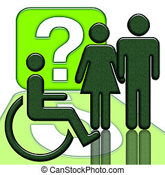 Handicapped Person - People near handicapped person in...