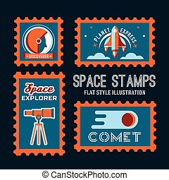 Post stamp with rocket in the space and flat stamp