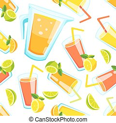 Lemon and lime lemonade seamless vector pattern. Lemonade...