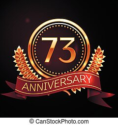 Seventy three years anniversary celebration with golden ring...