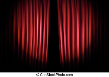 Opening stage curtains vector illustration. Standup show template