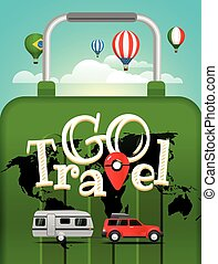 Vector travel illustration. Vacation travelling concept