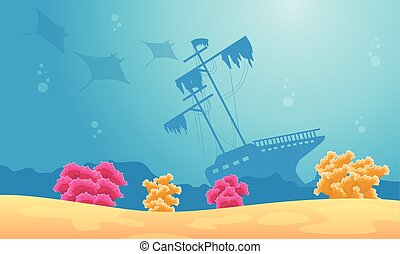 Landscape of underwater with stingray and ship illustration