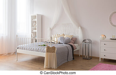 Room with canopy bed - White room with canopy bed, bookshelf...