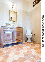 Elegant bathroom with toilet and cabinet - Part of the...