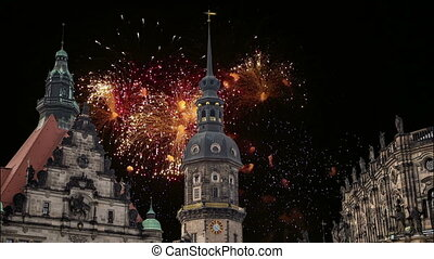 Hofkirche or Cathedral of Holy Trinity and holiday fireworks...