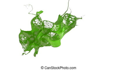 green splash of liquid like paint in the air move in slow motion. 3d render liquid with very high detail. Version 3