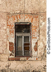 Grunge window of old industrial building - Shabby dirty...