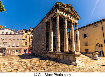 Temple of Augustus in the old town of Pula, Croatia