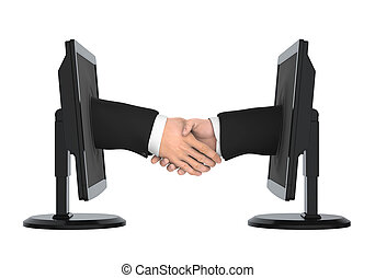Virtual Hand Shake Isolated - Virtual Hand Shake isolated on...