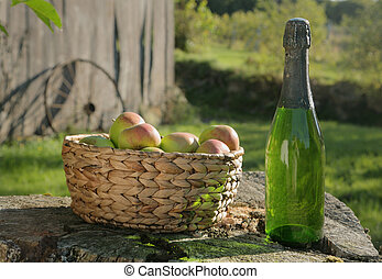 Apples and Cider in Sun - Cider Apples and Bottle of Rustic...