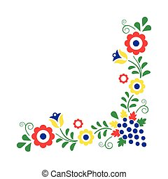 Colorful folklore ornament isolated on a white background,...