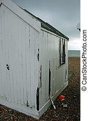 White old beach hut