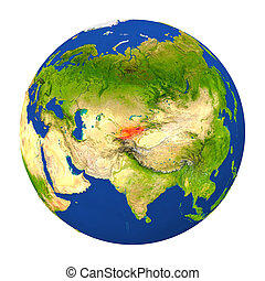 Kyrgyzstan highlighted on Earth - Country of Kyrgyzstan...