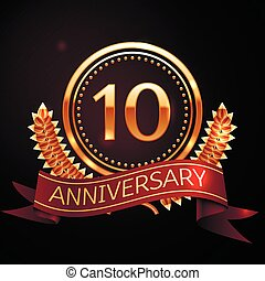 Ten years anniversary celebration with golden ring and...