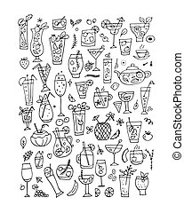 Drinks collection, design of coloring book page. Vector...
