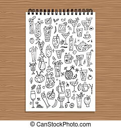 Drinks collection, design of coloring book page