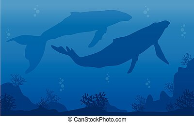 Silhouette of two whale on blue sea