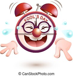 Fun clock laughs fools day. Isolated on white vector cartoon...