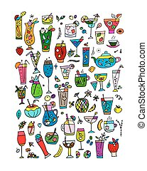 Drinks collection, sketch for your design. Vector...