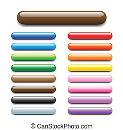 bar tube buttons - glossy, shiny candy looking elongated...