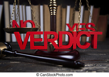 Verdict, Court gavel,Law theme, mallet of judge - Law theme,...