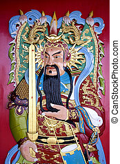 Chinese Temple Deity - Image of a deity on a Chinese temple...