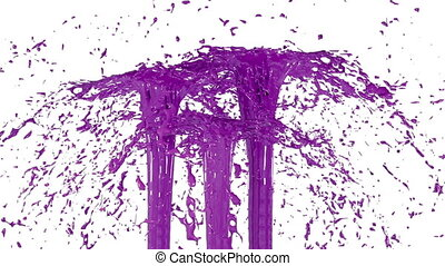 Beautiful fountain spray liquid like violet paint. 3d on white background with alpha channel use alpha mask. Top of a fountain with vortex liquid. Version 1