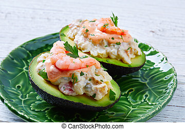 Seafood filled avocado with shrimps tapas pinchos from Spain...