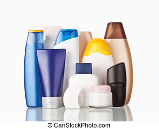 Toiletries - Set of colorful toiletries cosmetic plastic...